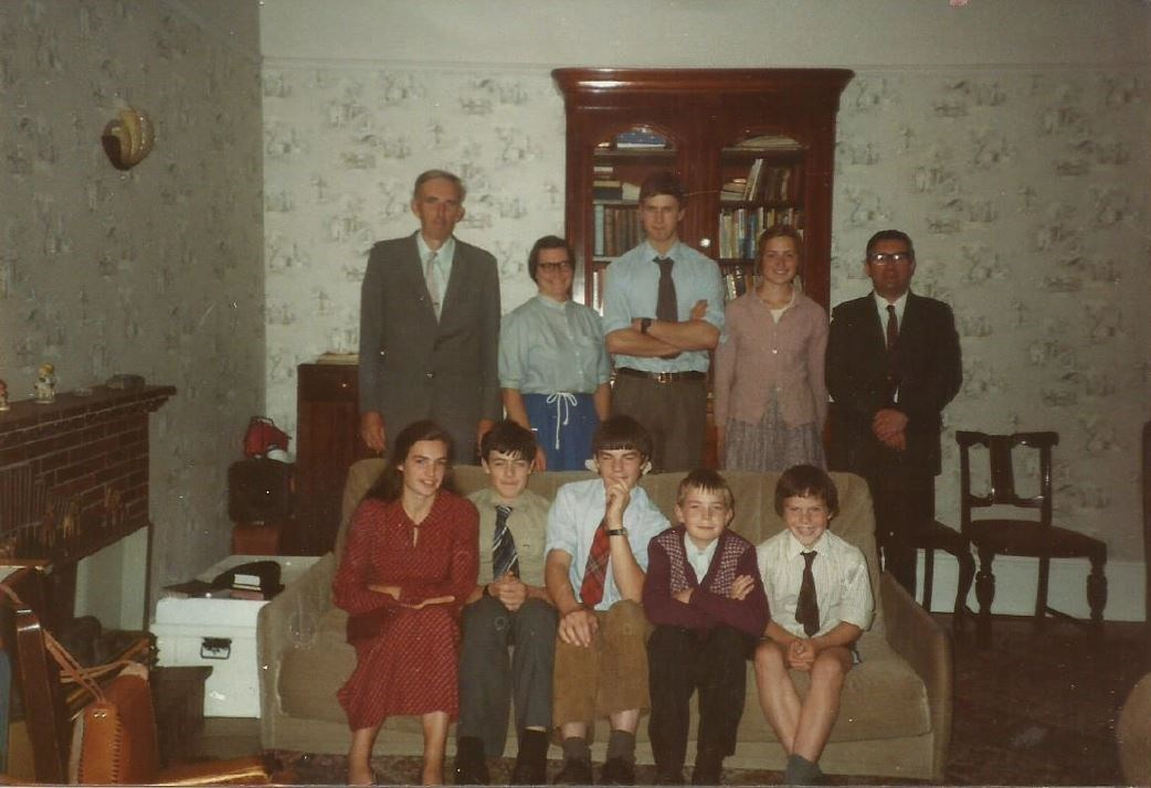 Peter with the Scott family and Nicholas Lorimer 1980s