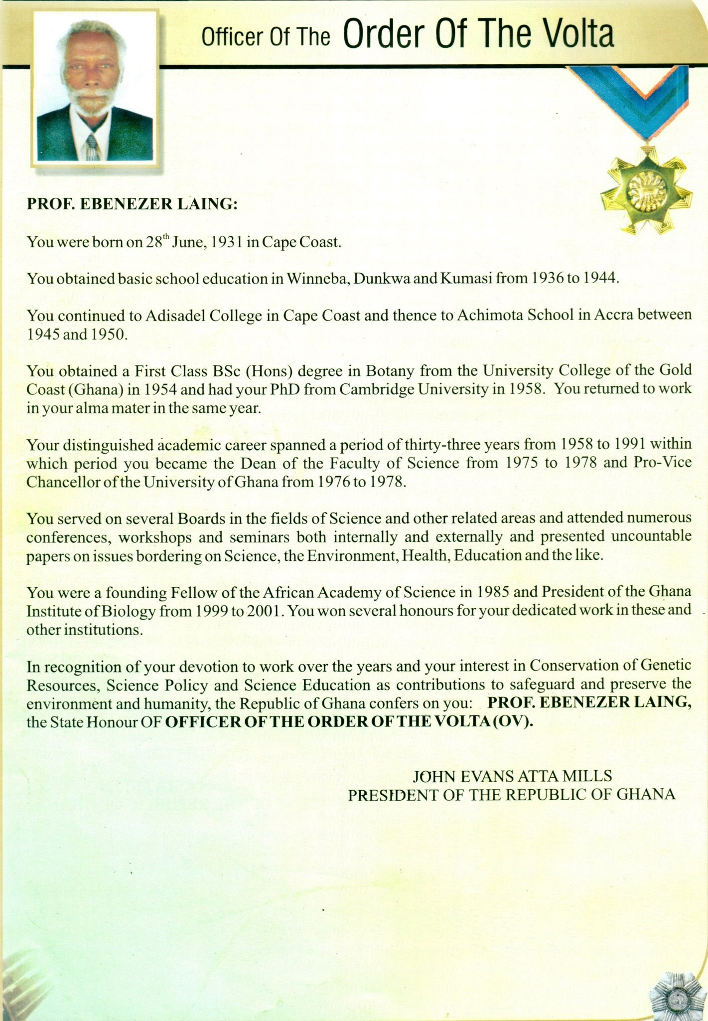National Award --- Officer Of The Order Of The Volta