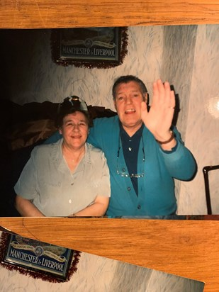 Mum & dad so much missed . I like this photo , looks like dads waving back to us to say we are alright , I've got mum now x
