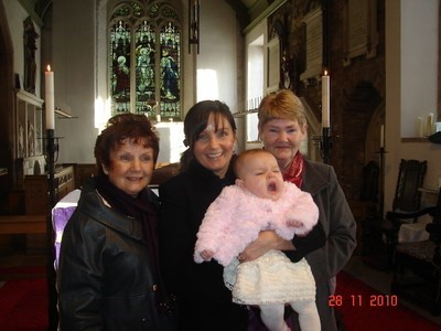 Joyce with her daughter & youngest grandaughters christening November 2010