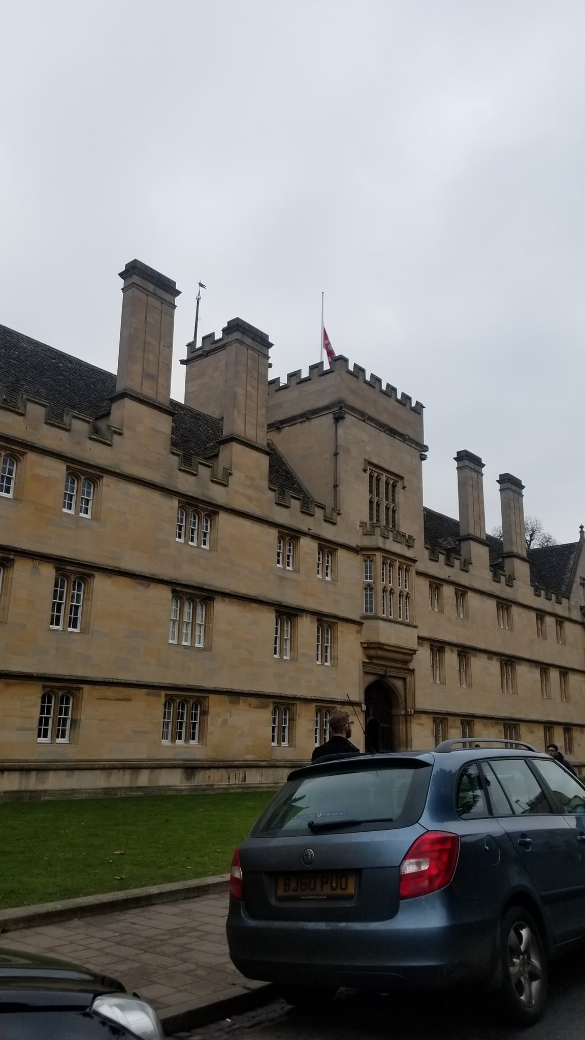 Wadham College's flag is at half staff today  in memory of Reza