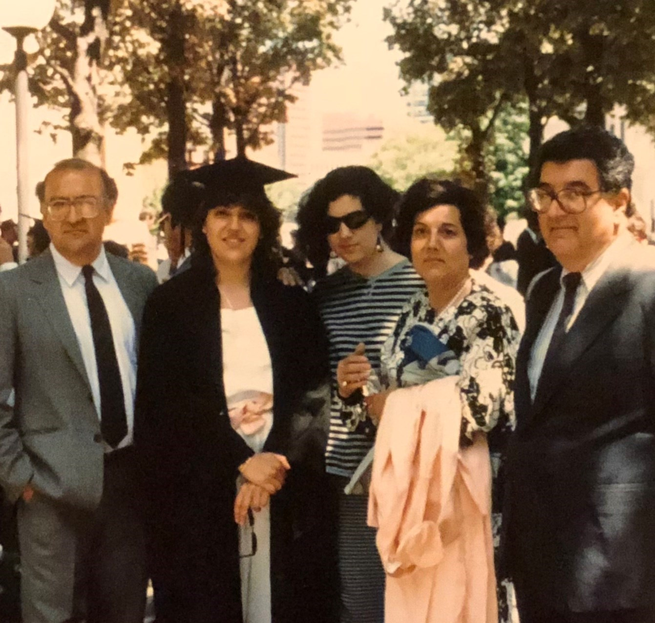 With family at Vici's graduation. Cambridge, Ma. 1988.