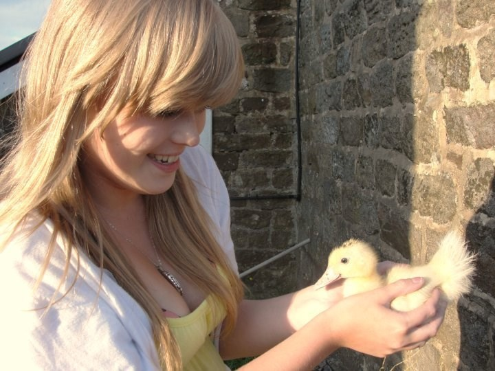 Helen with a duckling