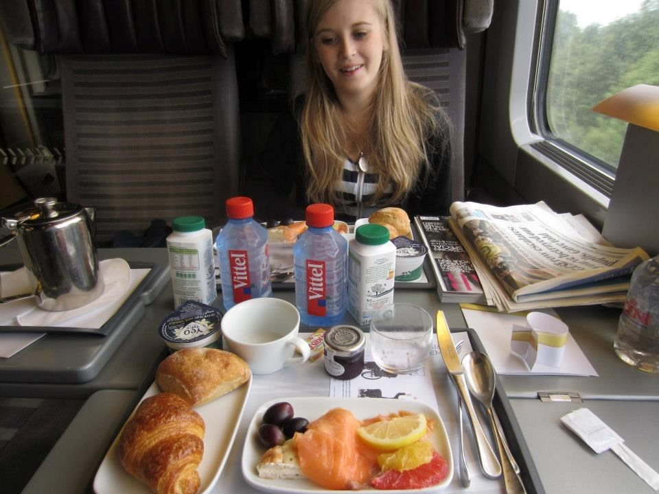 Helen on Eurostar to Bruge (via Brussles), her last holiday...
