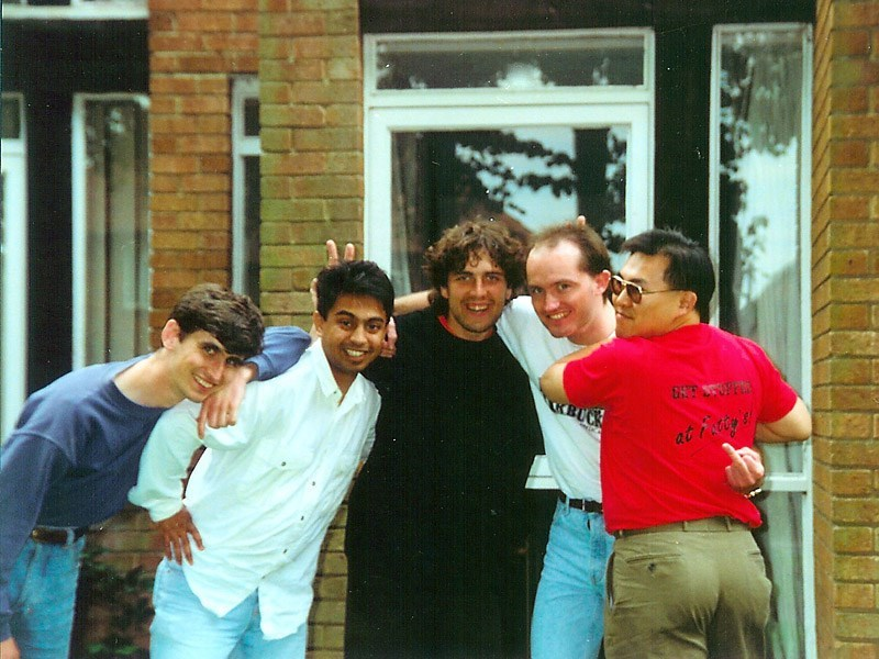 Rob with University friends Paul, Iqbal, Jarod and Simon  (I think this was about 1990)