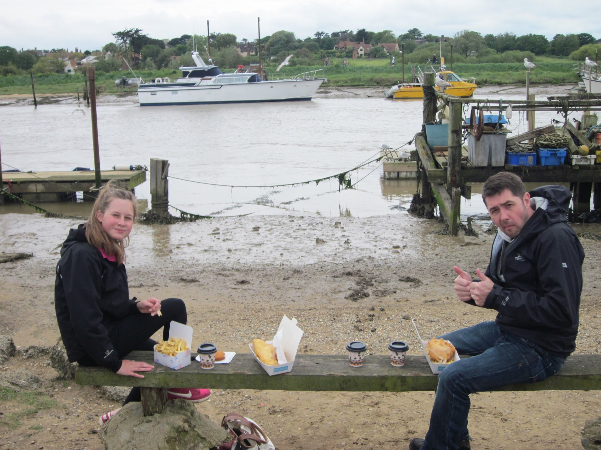 Dad and Daughter Fish and Chips by the Sea