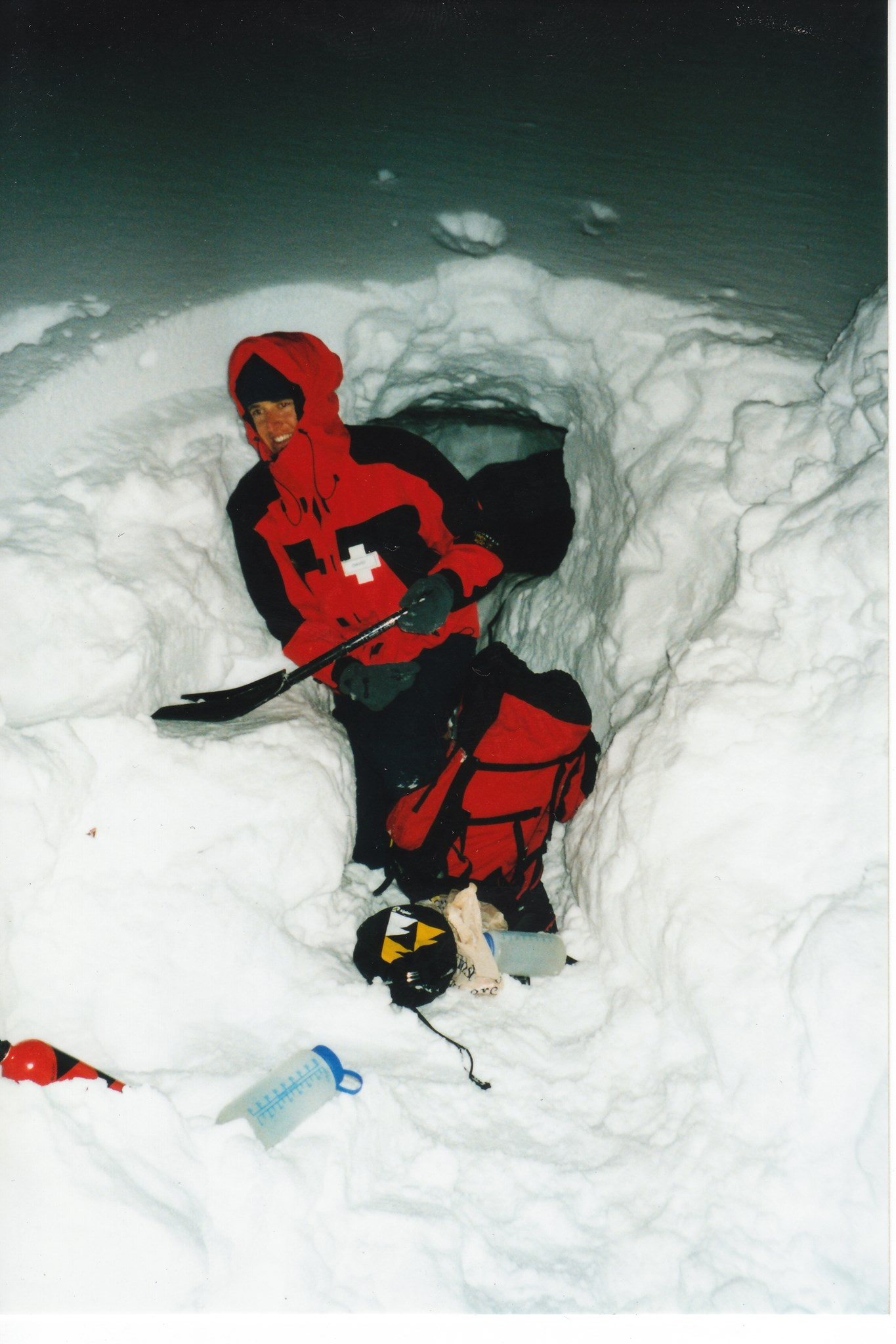 Digging our first snowhole, Tahoe 1998