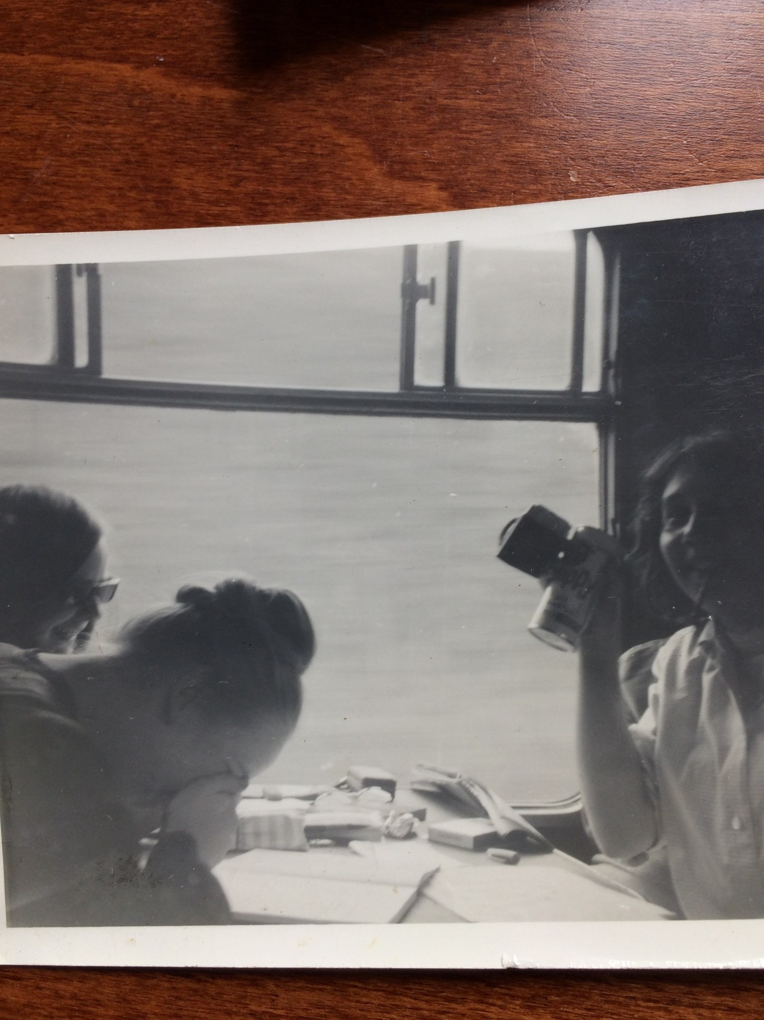 Helen, Sally & Frances laffing on the train to Stratford 1963(?)