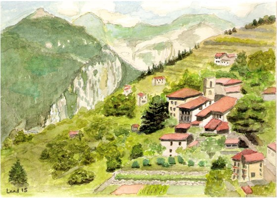 Mike's painting, view from the flat in Triora, Italy