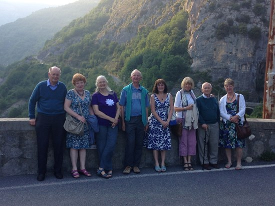 Our Loud Wind group meeting in Triora. On Loretto bridge in 2015