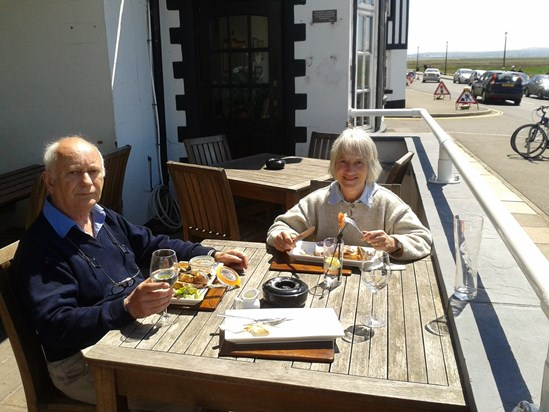 With sister Janet 2013, shrimp lunch at Parkgate on The Wirral