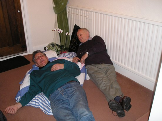 """Dad and Uncle Ian after some """"giggle juice"""", Christmas 2005"""