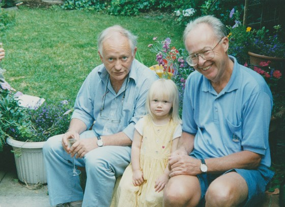 Grandads Mike and Colin celebrating Eloise's arrival with a somewhat nervous Kirsty