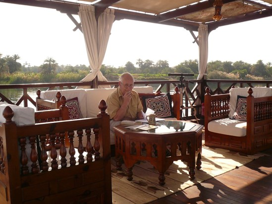 Mike learning the Arabic script while on a Nile Cruise Feb 2010