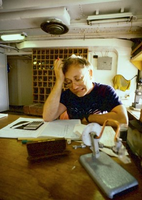 Mike solving a tricky problem on board RRS Discovery 1987