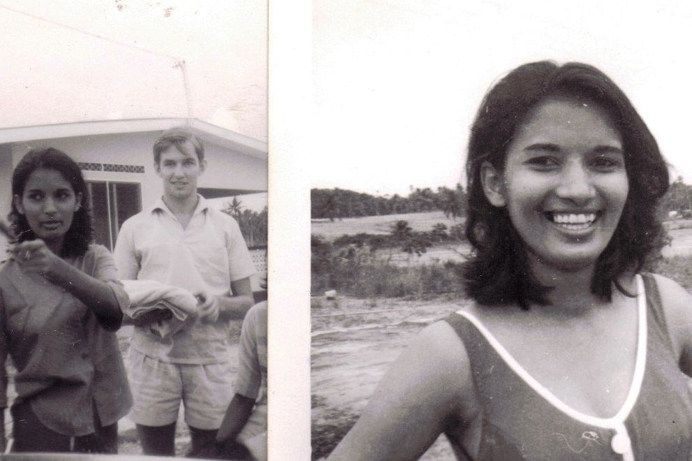 Beach lime in Granville, Trinidad, in late 60s. At left, Angela and John, soon after they first met.