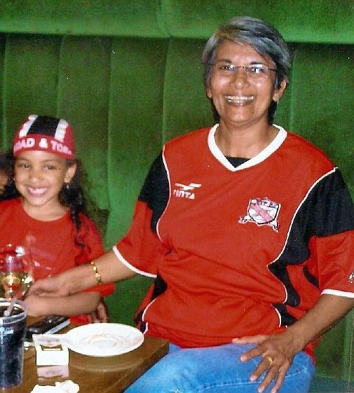 Angela and Jade supporting T&T for the World Cup 2006