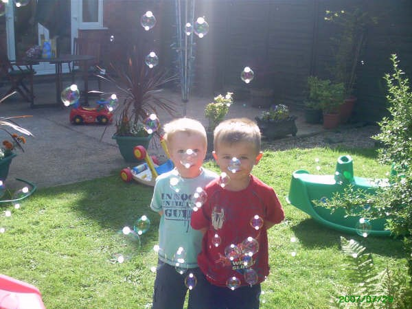 Taken with his best friend his cousin Bailey amazing how the bubbles were right on there noses x