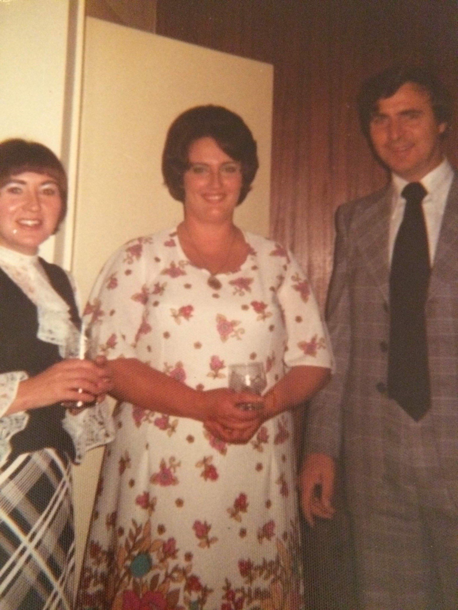 Rocking the checked suit and kipper tie with Mum and Carol