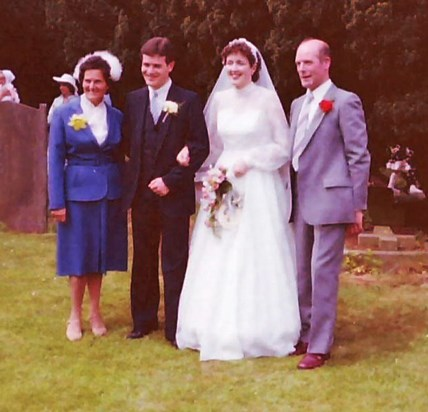 Wedding day with Mary, Michael, Christine and Eddie