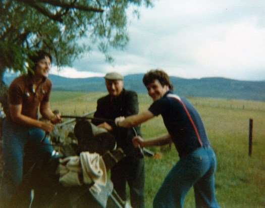 Sawing wood in Newtonmore 1977
