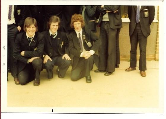 Mick with Steve Thomas (left) and Ian (Jock) Stewart - our last day at Sixth form at Dunsmore