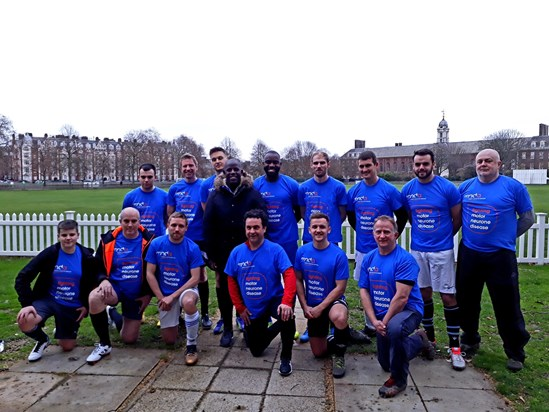 Len captains Team MND in a football game against a squad from the APPG on Football