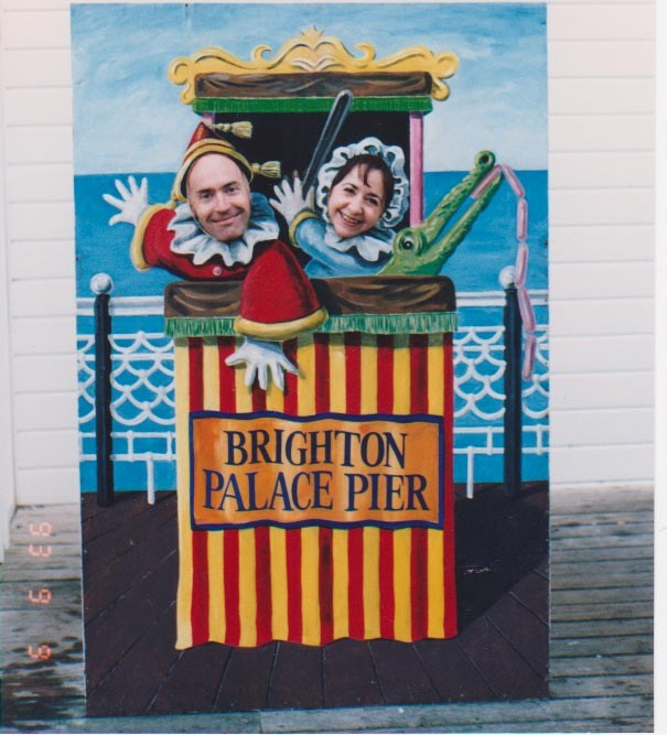 2015-08-16-0211-22  David and I larking about on Brighton Pier