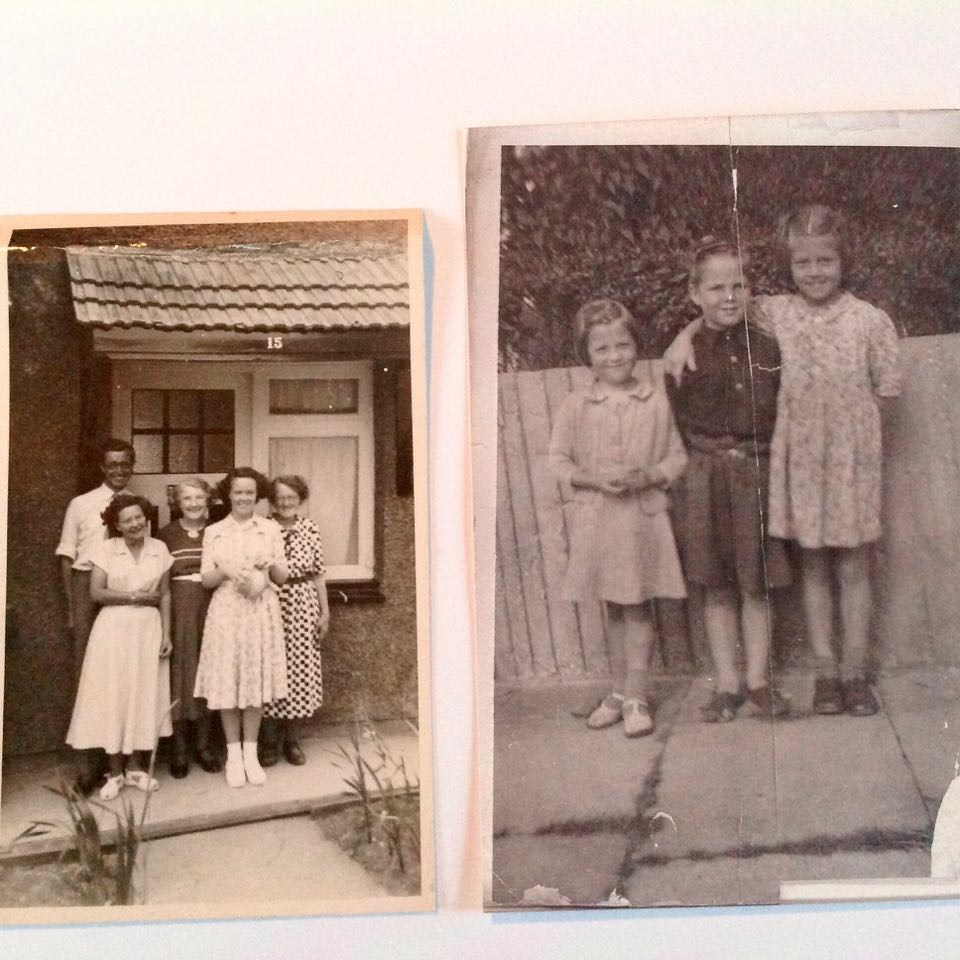 Mum's big sister is the tallest one in the right photo.The left photo is Mum, big sister & brother.