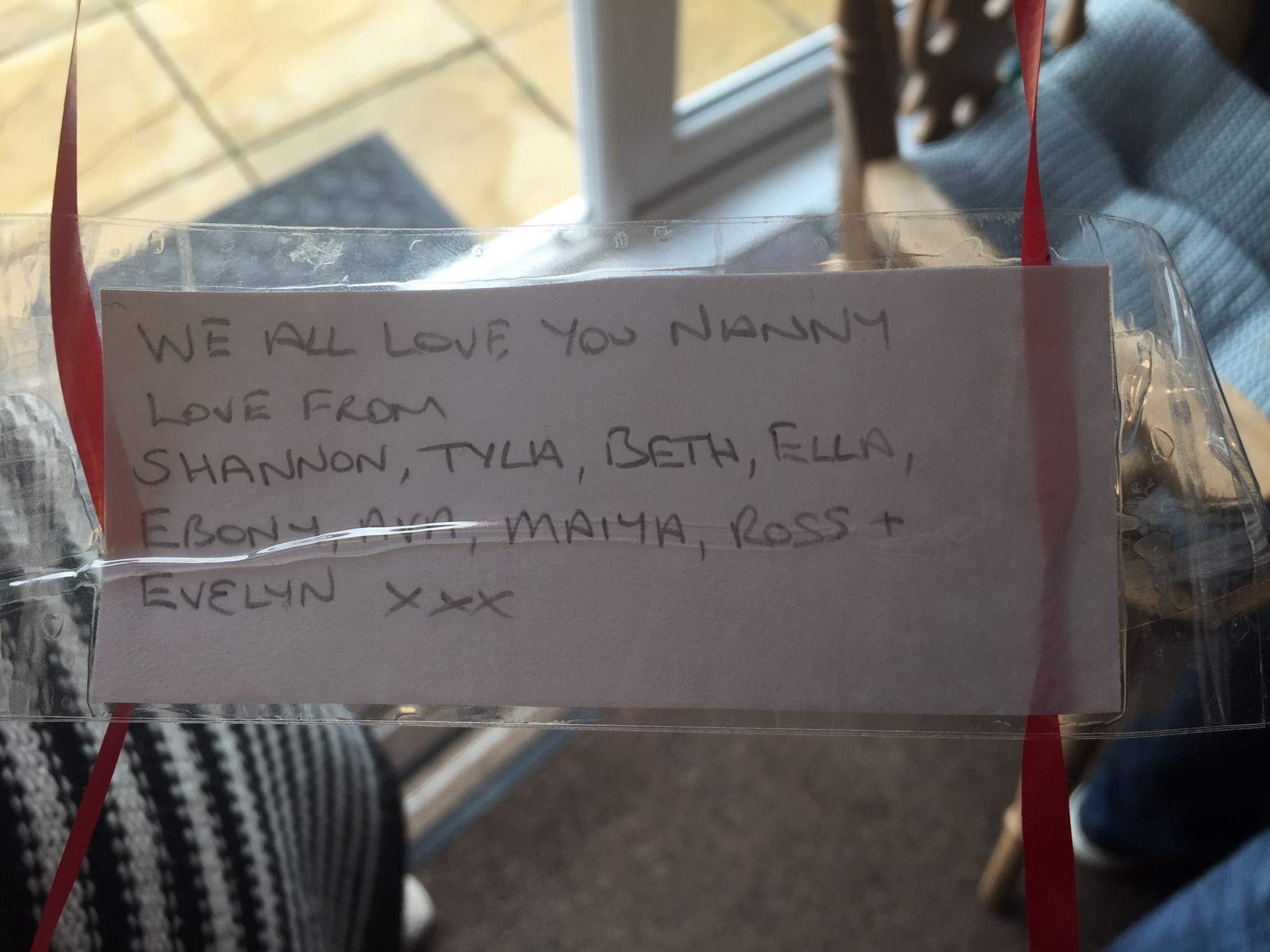 A little message to Nanny from all grandchildren via balloon ?? x