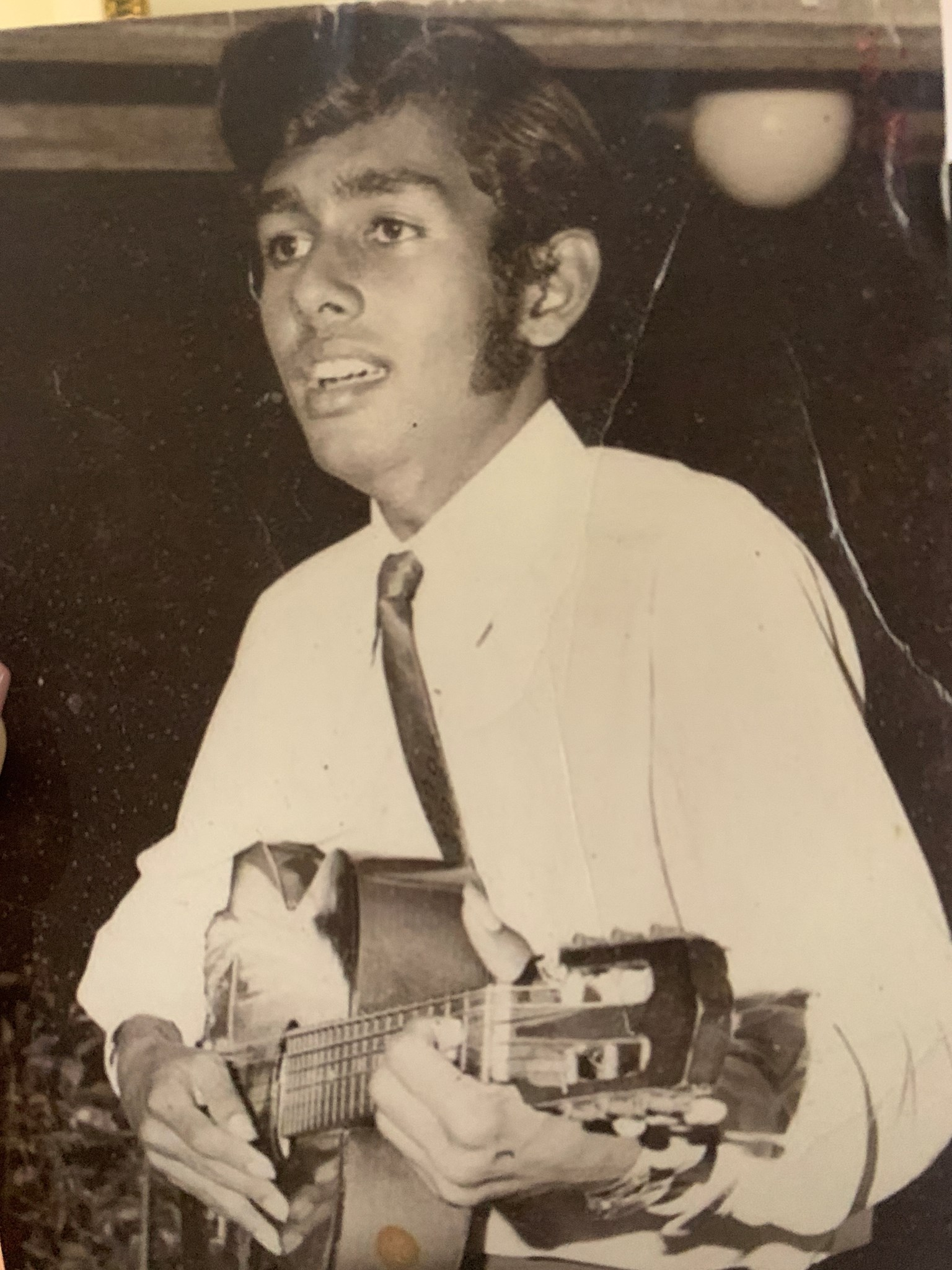 With his first love - the guitar!
