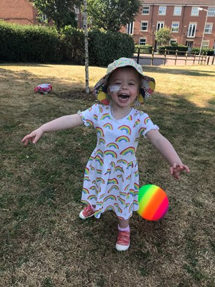 Playing in the park during a break from chemotherapy