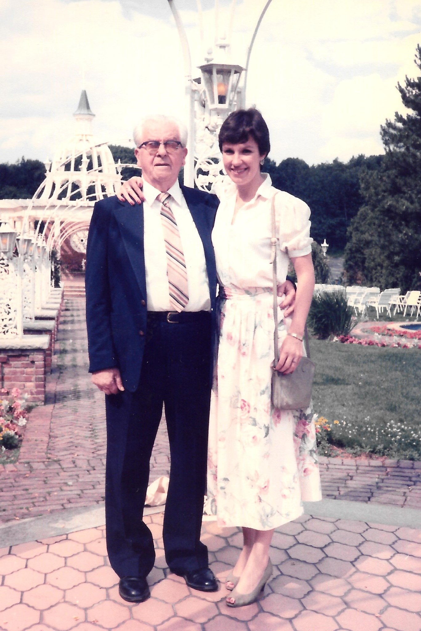 Marjorie Coeyman with her grandfather, Kenneth Orr - July 1985