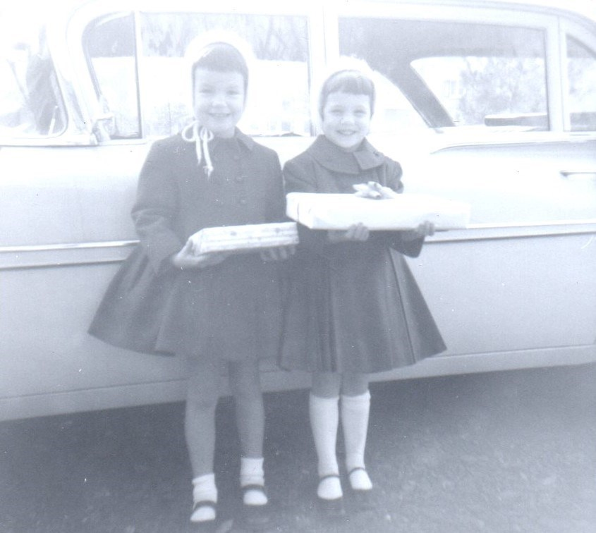 Marjorie and Ann off to a birthday party Jan. 1963
