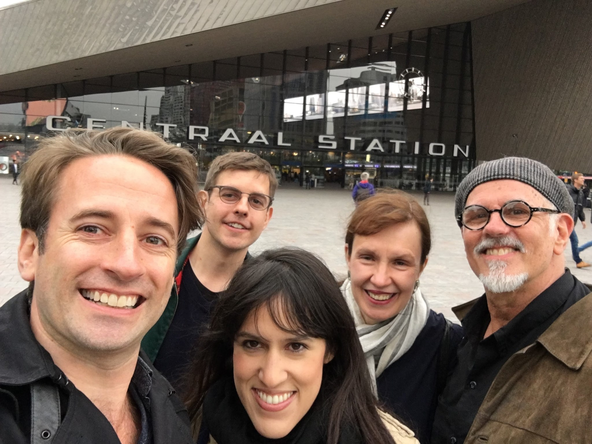 Marjorie at home in Europe with John, Mitch, Ximena and Spencer