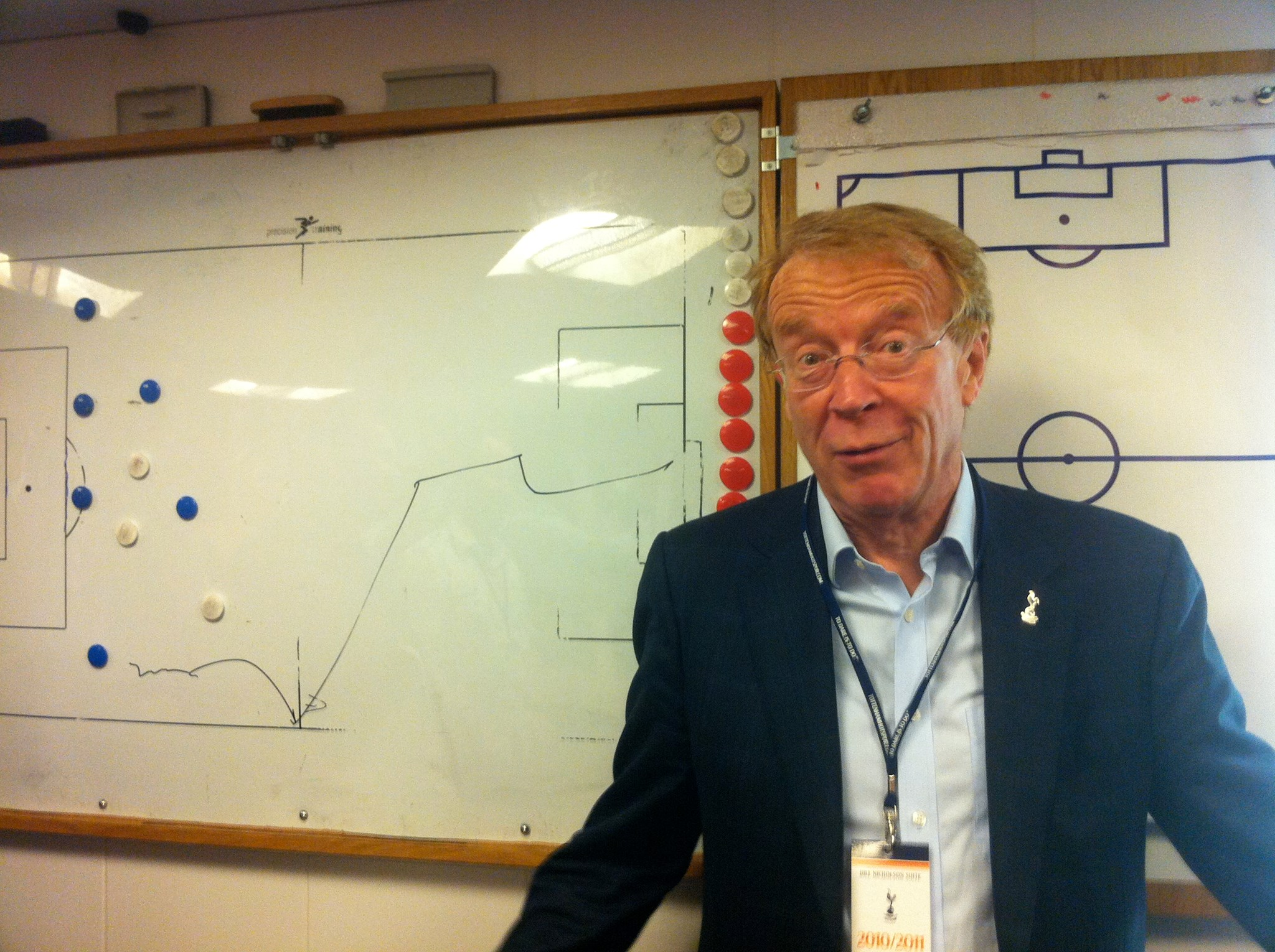 Stephen talking tactics in the dressing room White Hart Lane