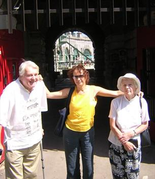 with wife and daughter, 2004