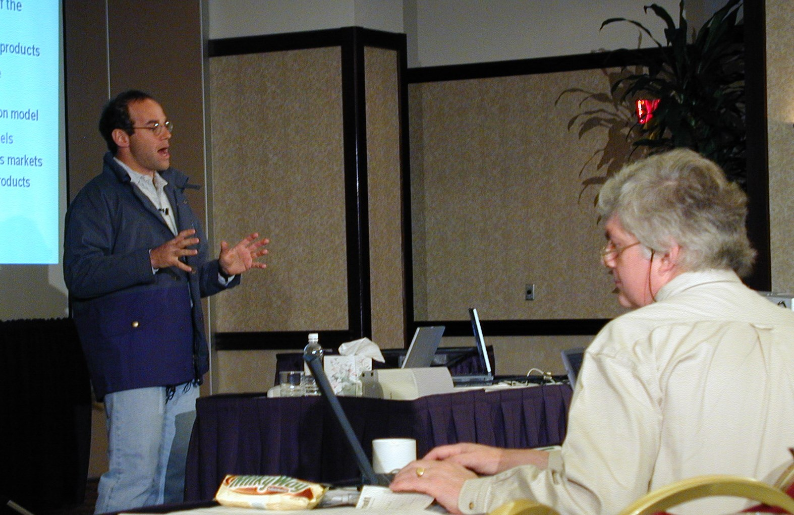 Peter Levine presenting to Richard at Cutting Edge 2000