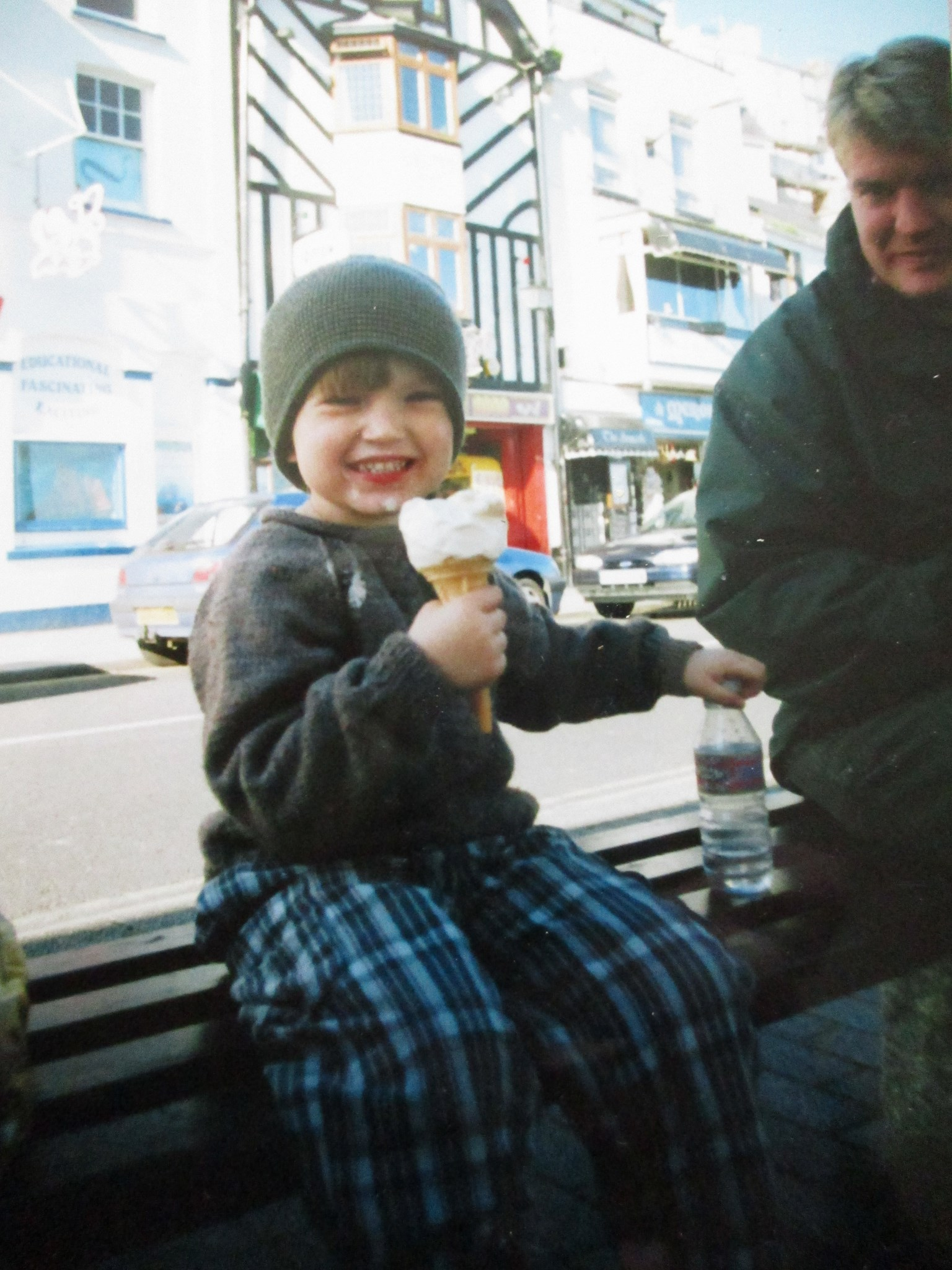 Enjoying an ice cream in Brixham. Aged about 5
