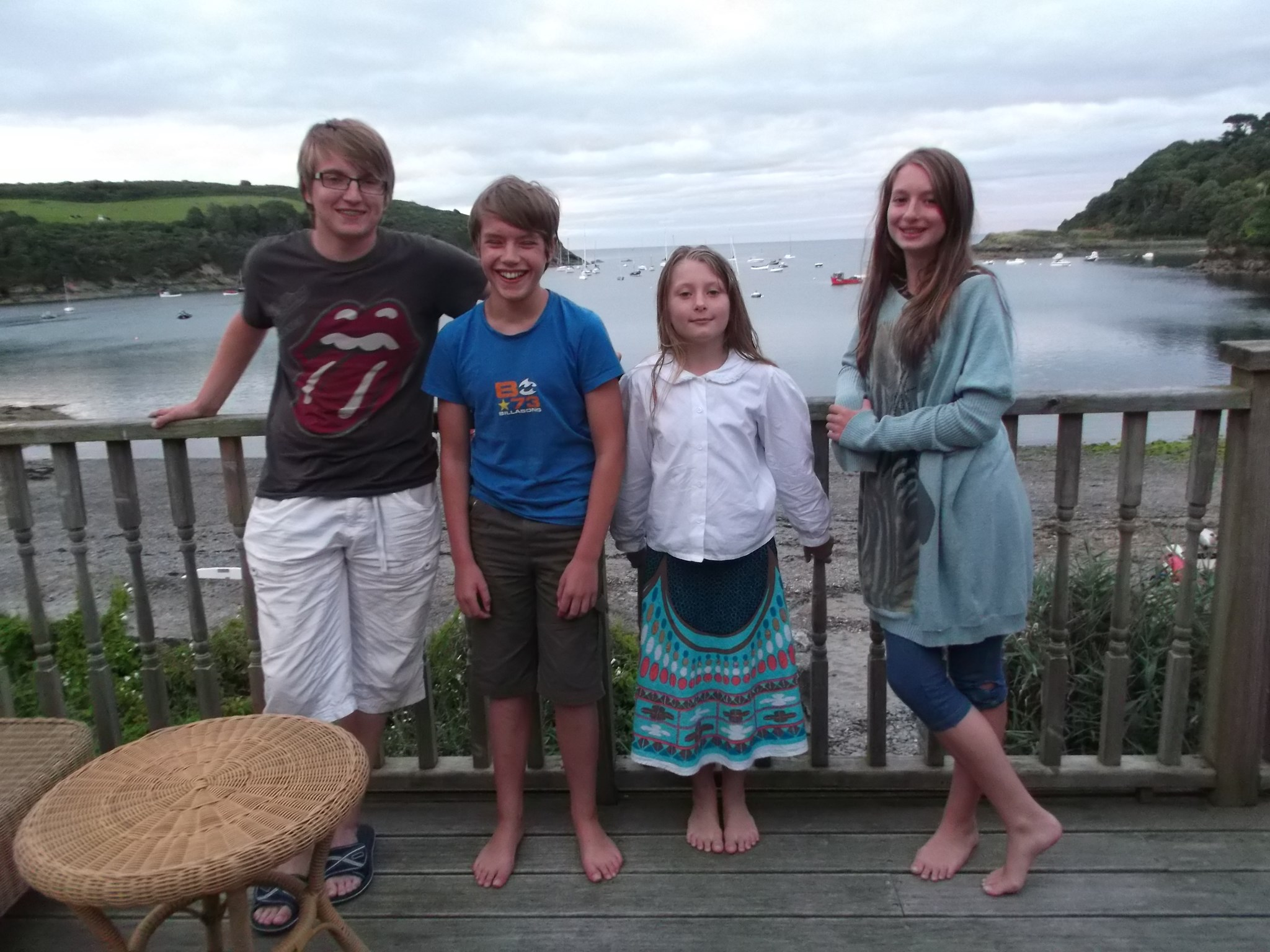 With Lucian and cousins Cosy and Ruby, Cornwall 2014