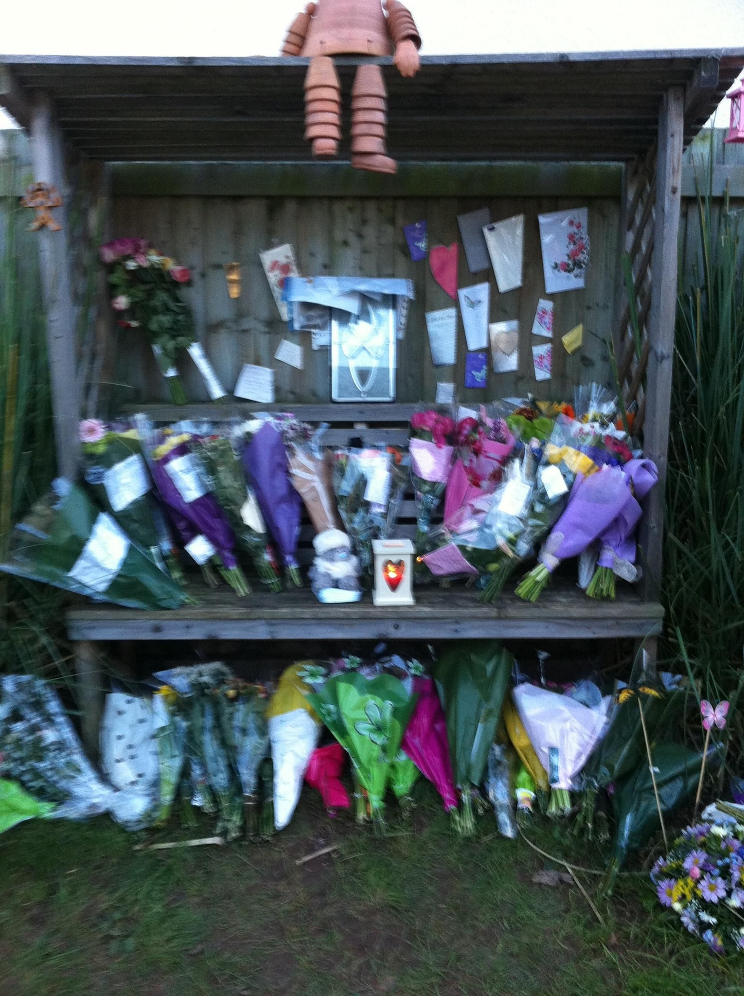 Flowers collected from the roadside memorial