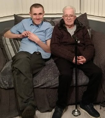 My grandson Kyle, with his Granddad Malcolm.