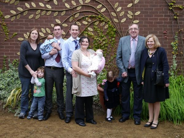 The family together as Kaths leaf is put on the Tree of Hope - 2012