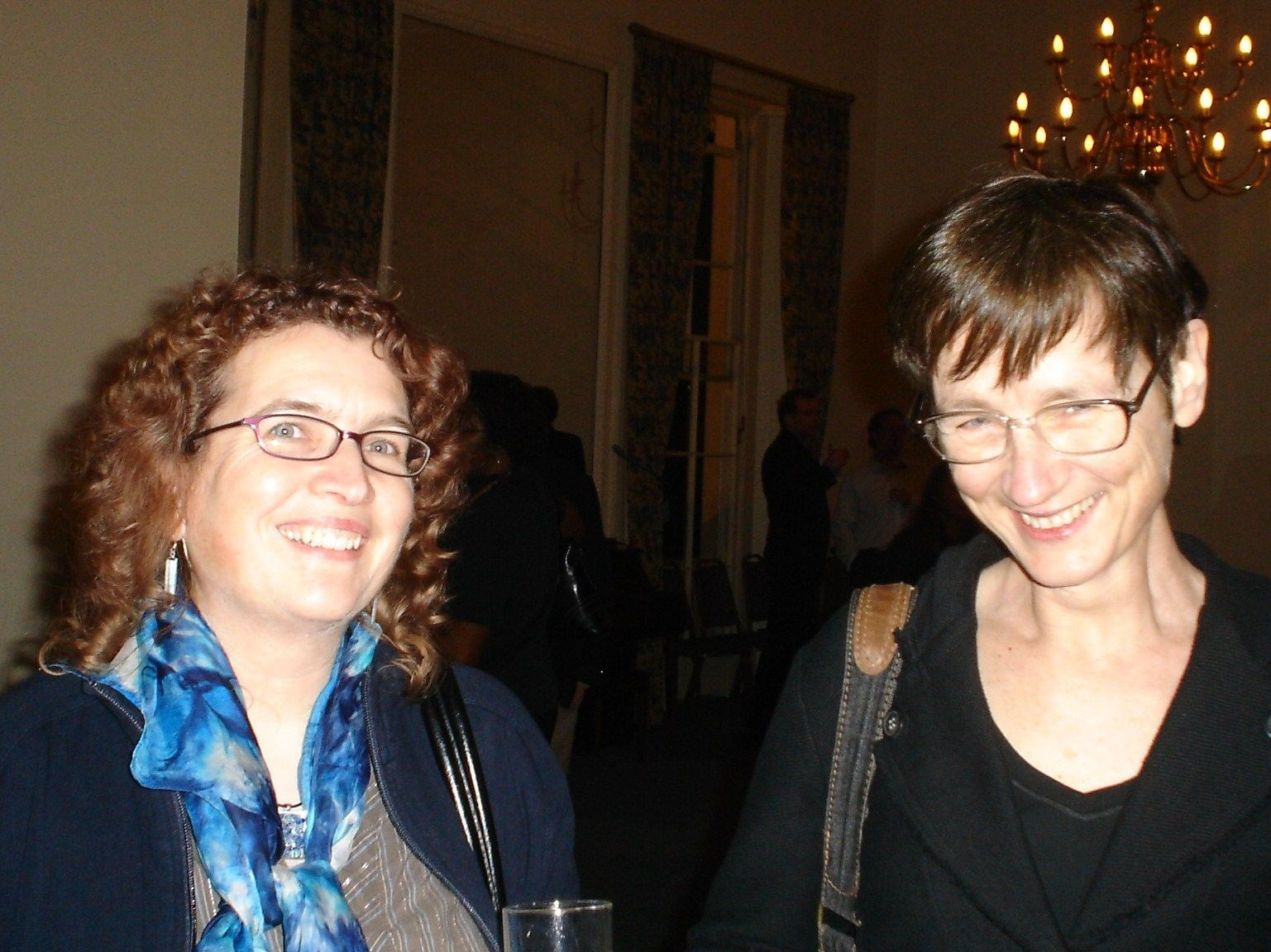 Maxine with Karen at the official launch of The Girl with the Dragon Tattoo, 2008