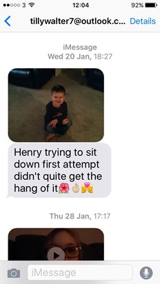 The last picture of Henry before he fell ill. Tilly sent it to Mark when he was at work. Tilly was teaching Henry to sit cross legged.