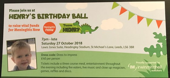 Ticket for Henry's Birthday Ball on 27th October 2018 to remember Henry and raise funds for Men Now