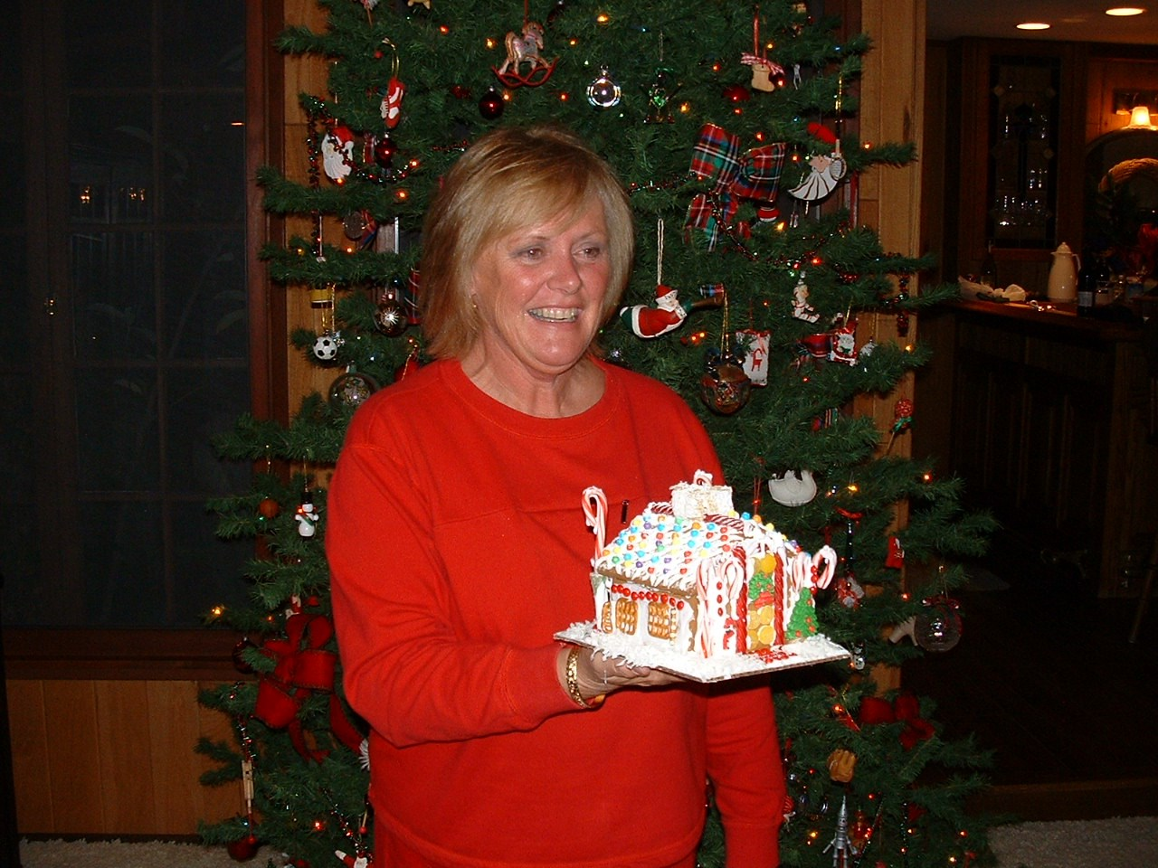One of Lori's always fabulous gingerbread house decorating parties......