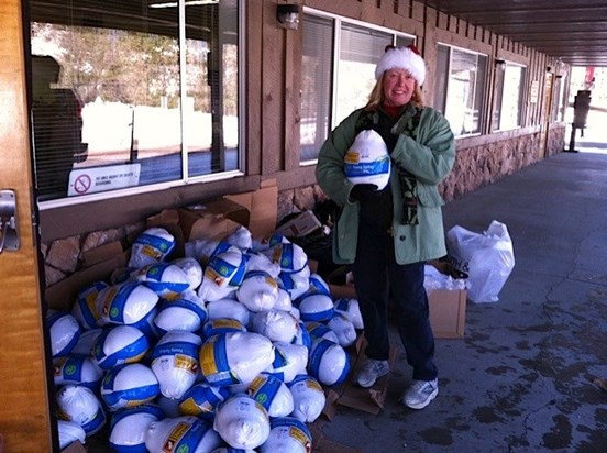 Lori always helping with Christmas Baskets for others on the Mountain!