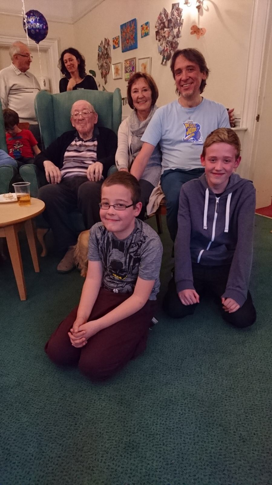 2015 Dad with Mum, Mike, grandsons Jake and Max