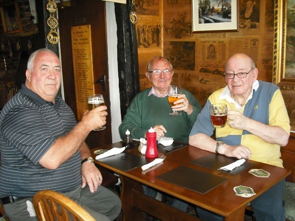 Down the pub with mates John and Peter